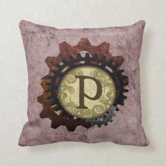 Grunge Steampunk Gears Monogram Letter P Throw Pillow