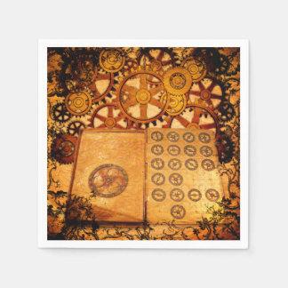 Grunge Steampunk Gears Paper Napkins