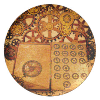 Grunge Steampunk Gears Party Plates