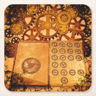 Grunge Steampunk Gears Square Paper Coaster