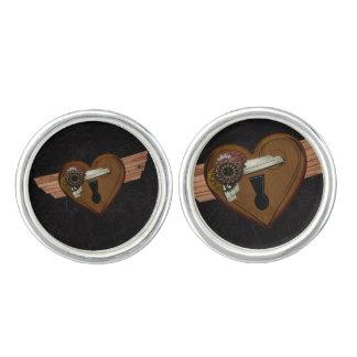 Grunge Steampunk Heart Cuff Links