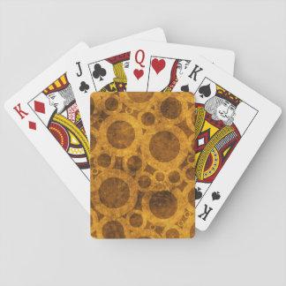 Grunge Steampunk Pattern Gold Brown Playing Cards