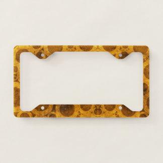 Grunge Steampunk Pattern Gold License Plate Frame