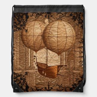 Grunge Steampunk Victorian Airship Drawstring Bag