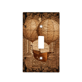 Grunge Steampunk Victorian Airship Light Switch Cover