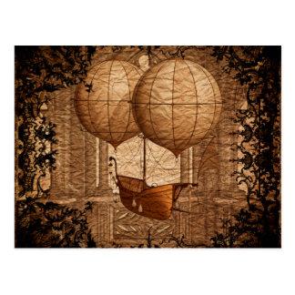 Grunge Steampunk Victorian Airship Postcard