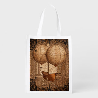 Grunge Steampunk Victorian Airship Reusable Grocery Bag