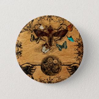 Grunge Steampunk Victorian Butterfly 2 Inch Round Button