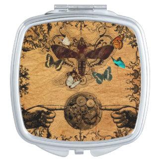 Grunge Steampunk Victorian Butterfly Compact Mirror