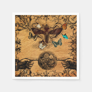 Grunge Steampunk Victorian Butterfly Disposable Napkin