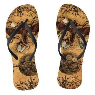Grunge Steampunk Victorian Butterfly Flip Flops