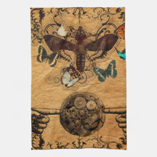 Grunge Steampunk Victorian Butterfly Kitchen Towel