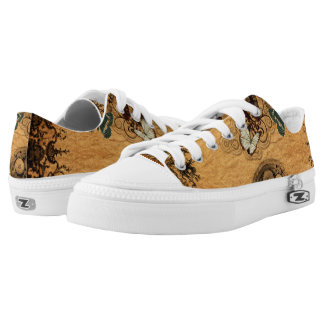 Grunge Steampunk Victorian Butterfly Low-Top Sneakers