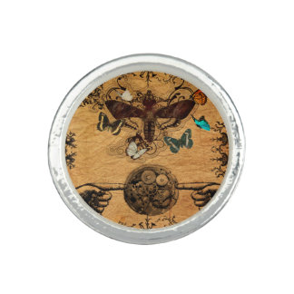 Grunge Steampunk Victorian Butterfly Photo Rings