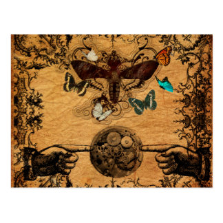 Grunge Steampunk Victorian Butterfly Postcard
