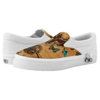 Grunge Steampunk Victorian Butterfly Slip-On Sneakers