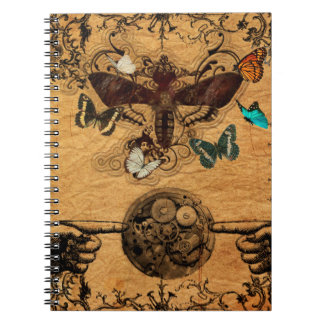 Grunge Steampunk Victorian Butterfly Spiral Notebook