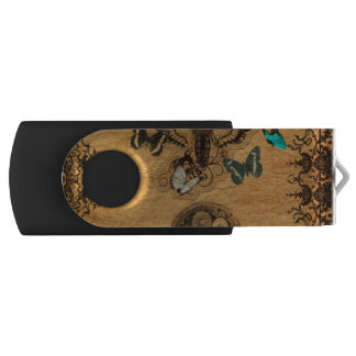 Grunge Steampunk Victorian Butterfly USB Flash Drive