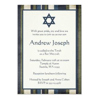Grunge Stripes Bar Mitzvah Invitation