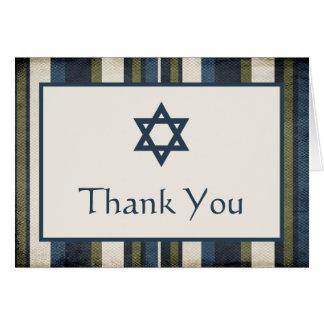 Grunge Stripes Bar Mitzvah Thank You Card