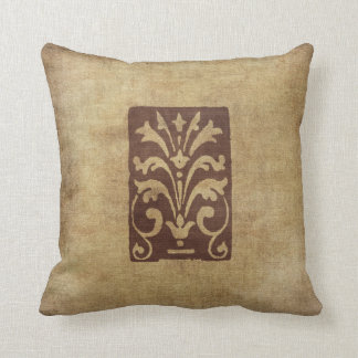 Grunge Style Antique Motif Pillow Distressed Brown