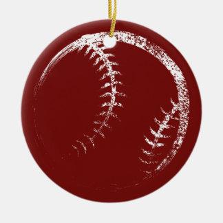 Grunge Style Baseball or Softball Design Ceramic Ornament