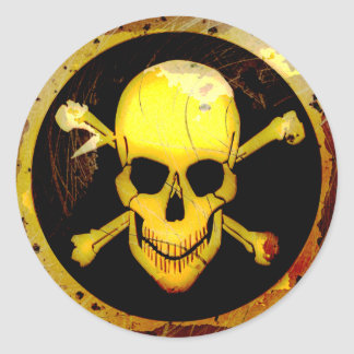 Grunge Style Gold Skull and Crossbones Classic Round Sticker
