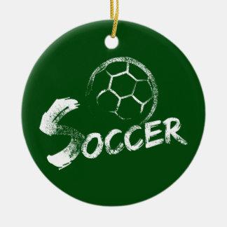 Grunge Style Soccer Design Ceramic Ornament