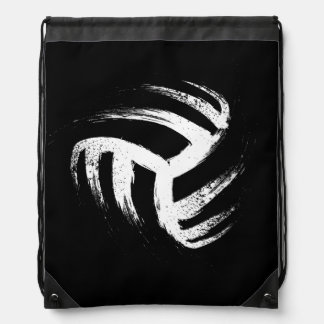 Grunge Style Volleyball Design Drawstring Bag