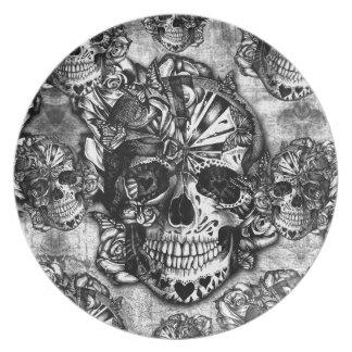Grunge sugar skull pattern plate