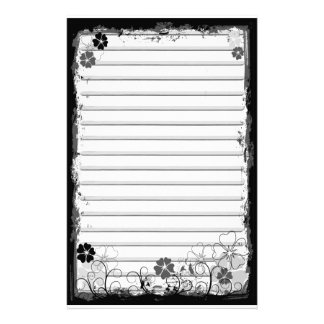Grunge Swirl Flowers Lined Stationery White Grey