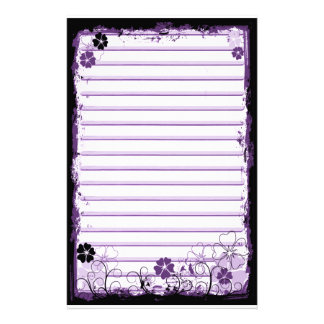 Grunge Swirl Flowers Lined Stationery White Purple