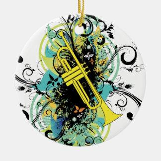 Grunge Swirl Trumpet Ceramic Ornament