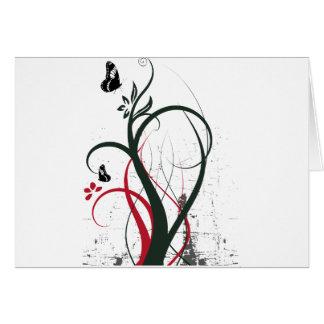 Grunge Swirls 2 Butterflies Original Black Red Card