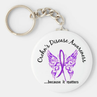 Grunge Tattoo Butterfly 6.1 Crohn's Disease Keychains