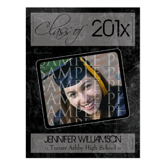 Grunge Texture Graduation Announcement (black) Postcard