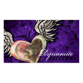 Grunge Texture Heart Wings Tattoo Business Card