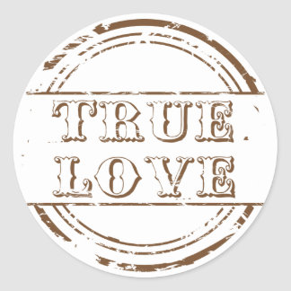 Grunge True Love Brown And White Wedding Classic Round Sticker