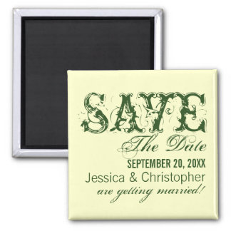 Grunge Typography Save the Date Magnet, Green