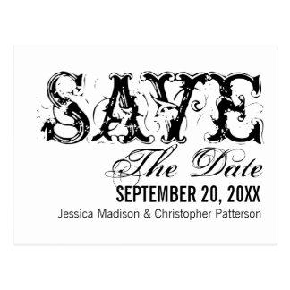 Grunge Typography Save the Date Postcard, Black Postcard