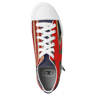 Grunge UK Flag and USA Flag Custom Trainers Low-Top Sneakers