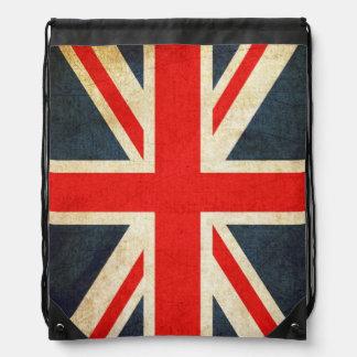 Grunge UK Flag Union Jack Drawstring Backpack