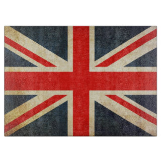 Grunge UK Flag Union Jack Glass Cutting Board