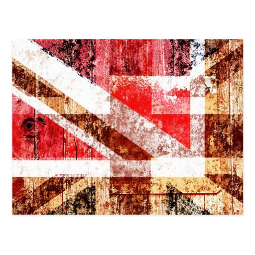 grunge Union Jack collage on wood texture Post Card