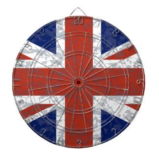 Grunge Union Jack Flag Dartboard With Darts