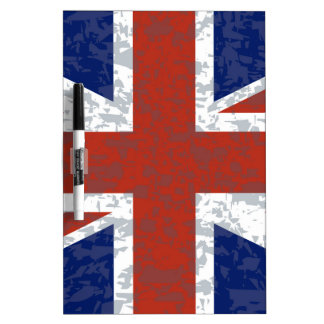 Grunge Union Jack Flag Dry Erase Board