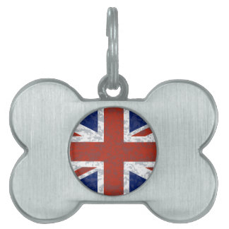Grunge Union Jack Flag Pet Name Tag