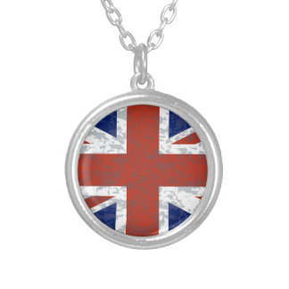 Grunge Union Jack Flag Silver Plated Necklace
