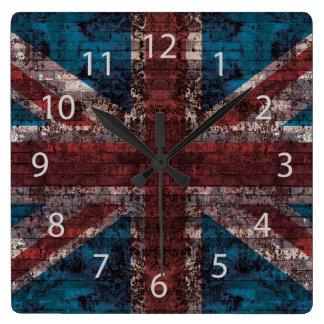 grunge Union Jack on brick Square Wall Clock