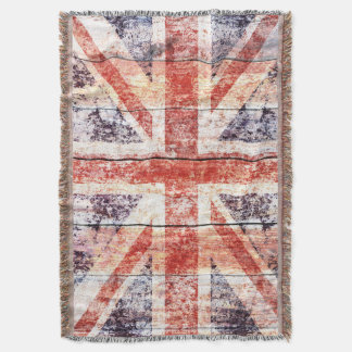 Grunge Union Jack on rustic wood Throw Blanket